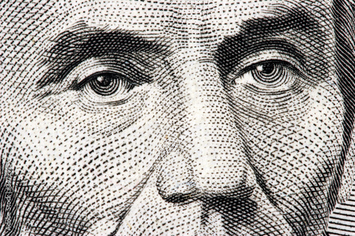 abraham lincoln close up from 5 dollar bill Canvas Print