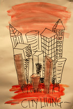 Painting Of Modern City