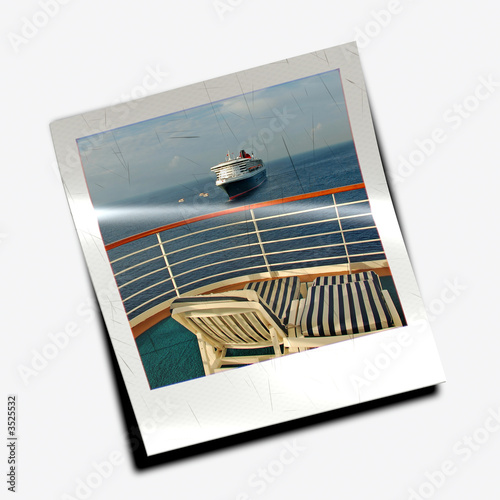 polaroid slide from cruise vacation buy this stock photo and