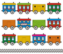 Toy Train Set - Freight, Mail, Passenger Cars And Track