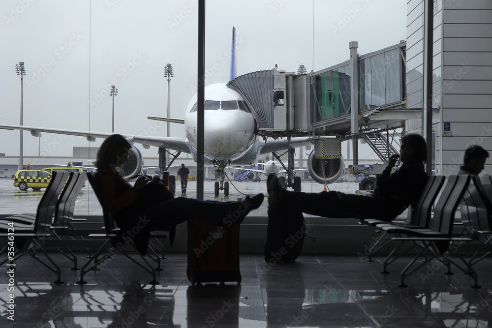 Fototapeta Passengers in an airport terminal with a plane in background.