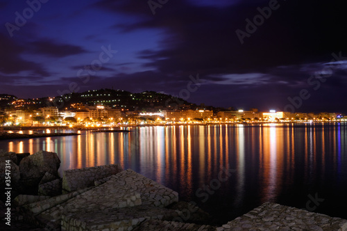 The city of Cannes, France, at night Canvas Print