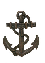 An Old Rusty Anchor Isolated Over White Background
