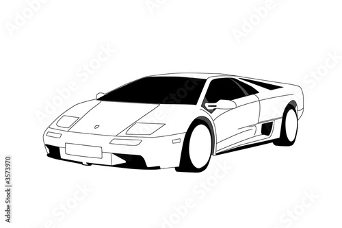 Photo  Lamborghini - Line Art