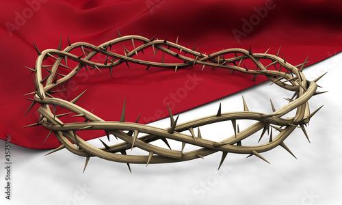 Foto A Crown of thorns on a dark cloth