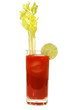 Bloody Mary with celery stalk and lime.