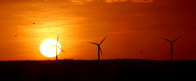 Wind Energy And Sunset