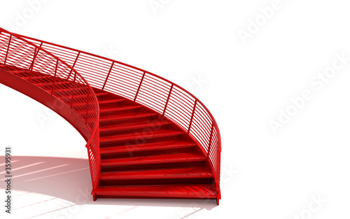 Türaufkleber Treppe isolated red stairs