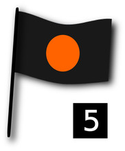 Black Flag With Orange Disc