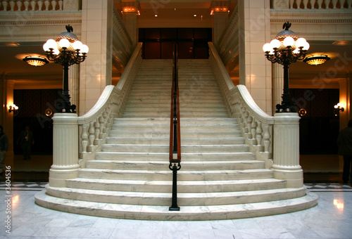 Photo Stands Stairs Luxury large white marble staircase, frontal view