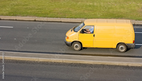 yellow blank delivery truck isolated of my truck series