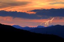 Dramatic Sunset With Lightning