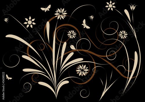 trendy grunge vector floral design