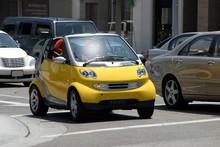 Yellow Mini Automobile On The Streets Of LA