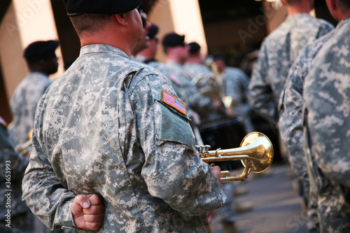 Photo  Military musician with his trumpet