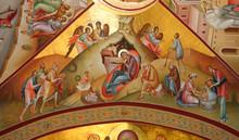 Fresco Of Nativity In Orthodox Monastery On Mount Tabor