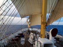 Head Of Tall Sail Ship In The Sea