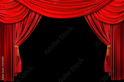 Fotografija  Bright Red Stage Theater Draped Curtain Background on Black