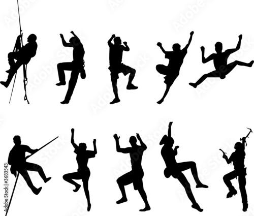 Fototapeta rock climbing silhouettes obraz