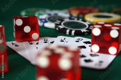 фотография  playing cards, poker chips and dice