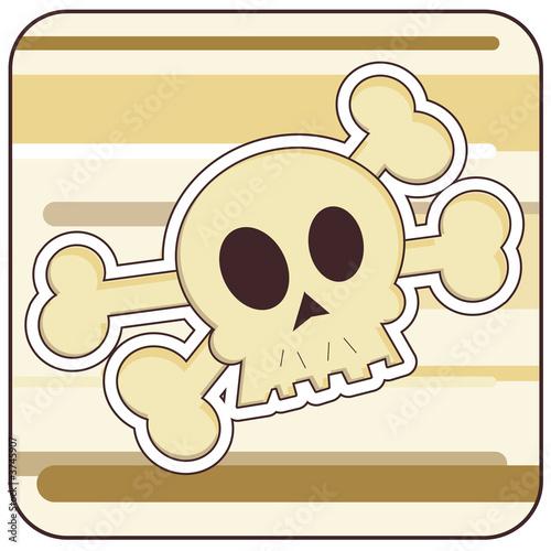Foto-Stoff - Cartoon illustration of a Skull and Crossbones. (von samantha grandy)