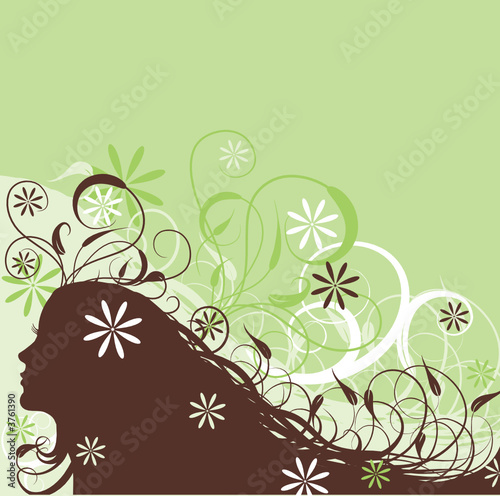 Floral femme Floral abstract woman, vector