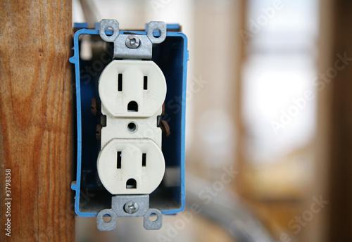 Fotografie, Obraz  A 120v duplex electrical receptactle box
