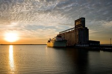 Old Ship And Grain Elevator At...