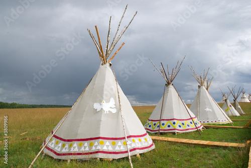 Fotobehang Indiërs American wigwam replica