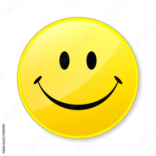 Fotografie, Obraz  Happy isolate yellow smile face on white background