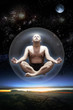 canvas print picture - Yoga master inside a glass sphere floating in space