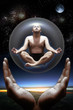 canvas print picture - Yoga master inside a glass sphere in space heldby two hands