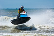 canvas print picture - extreme  jet-ski watersports with big waves