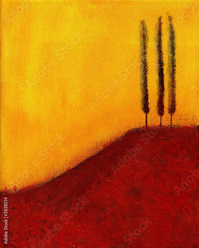 This is an abstract painting of trees on a hill. - 3838514