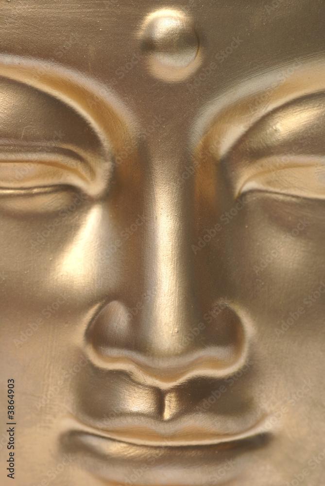 Foto-Stoff bedruckt - A golden buddha close up.