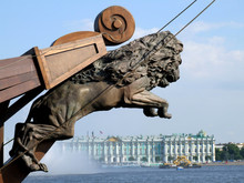 Lion-shaped Rostrum On Hermitage Background, St Petersburg