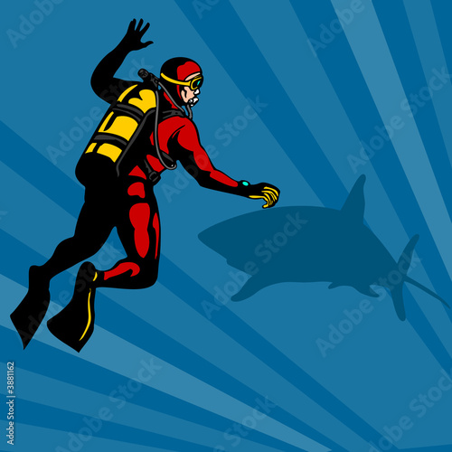 Autocollant pour porte Super heros Scuba diver with shark