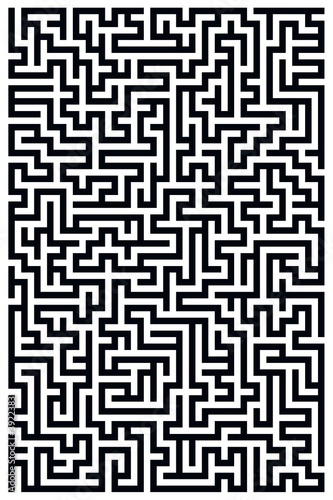 Black and White Maze Canvas Print