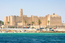 View Of Beach Against Ribat In Monastir