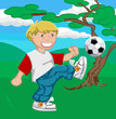 A young boy happily playing soccer