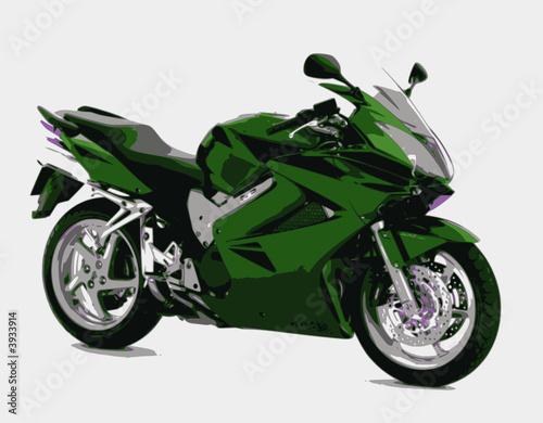 Poster Motocyclette sportive verte