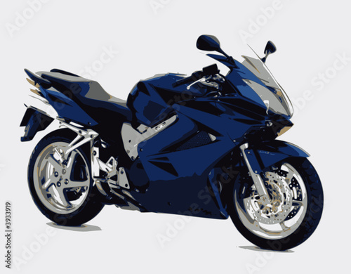 Poster Motocyclette sportive bleue