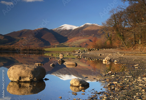 Tablou Canvas Mountain reflections in Derwent Water