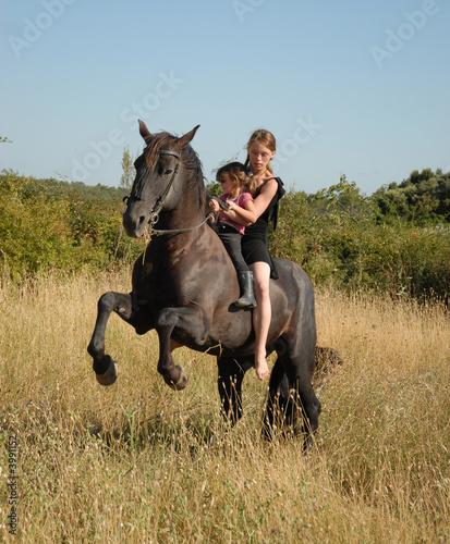 Photographie jeune cavalieres et cheval fougueux