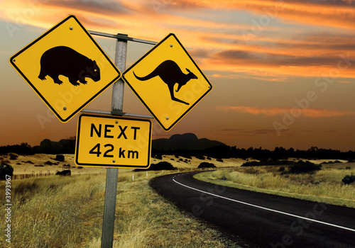 Spoed Foto op Canvas Australië Australian road sign
