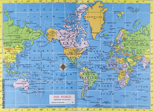 Poster Carte du monde Vintage map of the world. Mercator projection