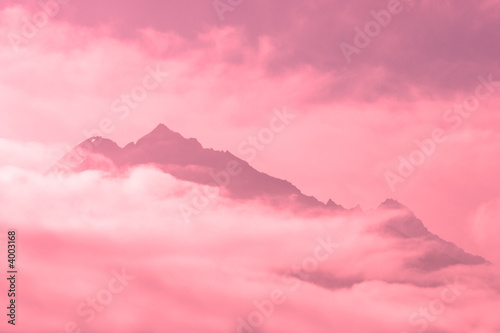Photo Stands Candy pink Cloudy mountains