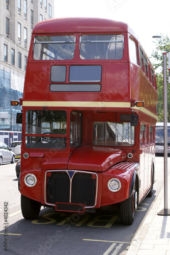 Poster Rouge, noir, blanc Red London Bus