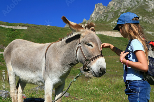 Cadres-photo bureau Ane Âne et enfant