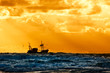 canvas print picture - fishing ship at sea